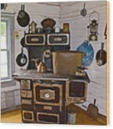 Kitchen Stove In Old Victoria-michigan  Wood Print