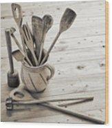 Kitchen Utensils Wood Print