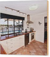 Kitchen With A River View Wood Print