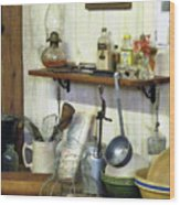 Kitchen With Wire Basket Of Eggs Wood Print