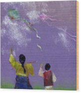 Kite Flying Wood Print by Mui-Joo Wee