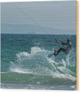 Kite Surfer Jumping Over A Wave Wood Print by Sami Sarkis