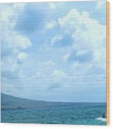 Kite Surfing With A Nevis Background Wood Print