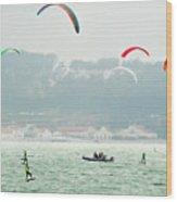 Kiteboarding In The San Francisco Bay Wood Print