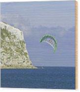 Kitesurfer At Yaverland Wood Print