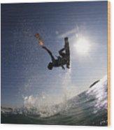 Kitesurfing In The Mediterranean Sea  Wood Print by Hagai Nativ