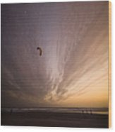 Kiting In The Moonlight Wood Print