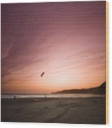 Kiting In The Sunset Wood Print