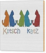 Kitsch Cats Silhouette Cat Collage Pattern Isolated Wood Print