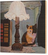 Kitten By The Lamp Wood Print