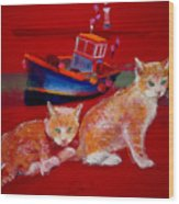Kittens On The Beach Wood Print
