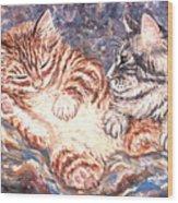 Kittens Sleeping Wood Print