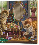 Kittens With Jewelry Box Wood Print by Anne Wertheim