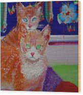 Kittens With Wild Wallpaper Wood Print