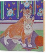 Kittens With Wild Wool Wood Print