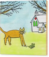 Kitty And The Mouse Wood Print
