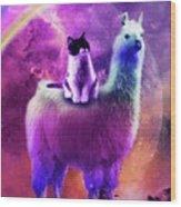 Kitty Cat Riding On Rainbow Llama In Space Wood Print