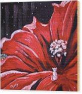 Kitty Flower Wood Print