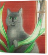 Kitty In The Plants Wood Print