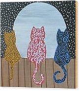 Kitty Moon Rise Wood Print