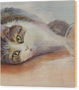 Kitty With Spilled Milk Wood Print