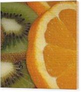 Kiwi And Orange Wood Print