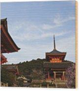 Kiyomizu-dera In Bloom Wood Print