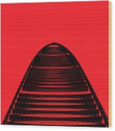 Kk100 Shenzhen Skyscraper Art Red Wood Print