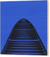 Kk100 Shenzhen Skyscraper Art Blue Wood Print