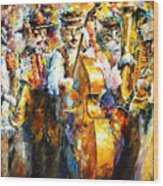 Klezmer Cats - Palette Knife Oil Painting On Canvas By Leonid Afremov Wood Print