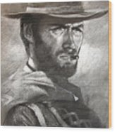 Klint Eastwood Wood Print
