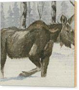 Knee Deep In Snow Wood Print