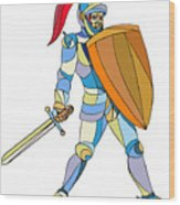 Knight Full Armor With Sword Defending Mosaic Wood Print