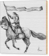 Knight In Armor Wood Print