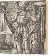 Knight In Armour With Bread And Wine Wood Print