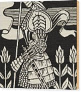 Knight Of Arthur, Preparing To Go Into Battle, Illustration From Le Morte D'arthur By Thomas Malory Wood Print