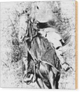 Knight With His Horse Wood Print