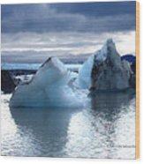 Knik Glacier Icebergs Wood Print