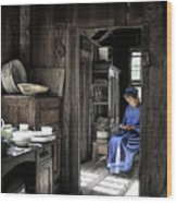 Knitting Room Wood Print