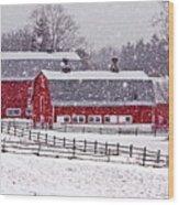 Knox Farm Snowfall Wood Print by Don Nieman