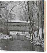 Knox Valley Forge Covered Bridge In Winter Wood Print