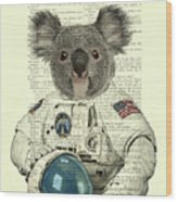Koala In Space Illustration Wood Print