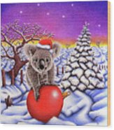 Koala On Christmas Ball Wood Print