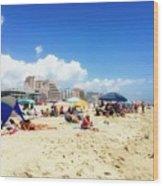 Blue Sky Day In Ocean City Wood Print
