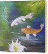 Kohaku Koi And Water Lily Wood Print