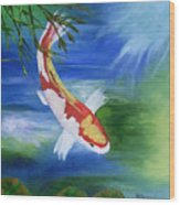 Kohaku Koi Fish 2 Wood Print