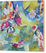 Koi And Two Waterlilies Flowers Wood Print