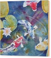 Koi And Waterlily Flower Wood Print