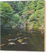 Koi Fish In Waterfall Pond At Japanese Garden Wood Print