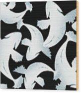 Koi Fish Powder Black - Pearl Wood Print